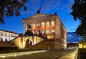 The Alte Nationalgalerie is part of the Museum Island, a UNESCO World Heritage Site. Alte Nationalgalerie abends (Zuschnitt).jpg