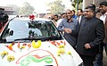 Anant Geete and the Union Minister for Communications & Information Technology, Shri Ravi Shankar Prasad at the launch of the Electric vehicle to commute to Parliament, in New Delhi on December 22, 2015.jpg