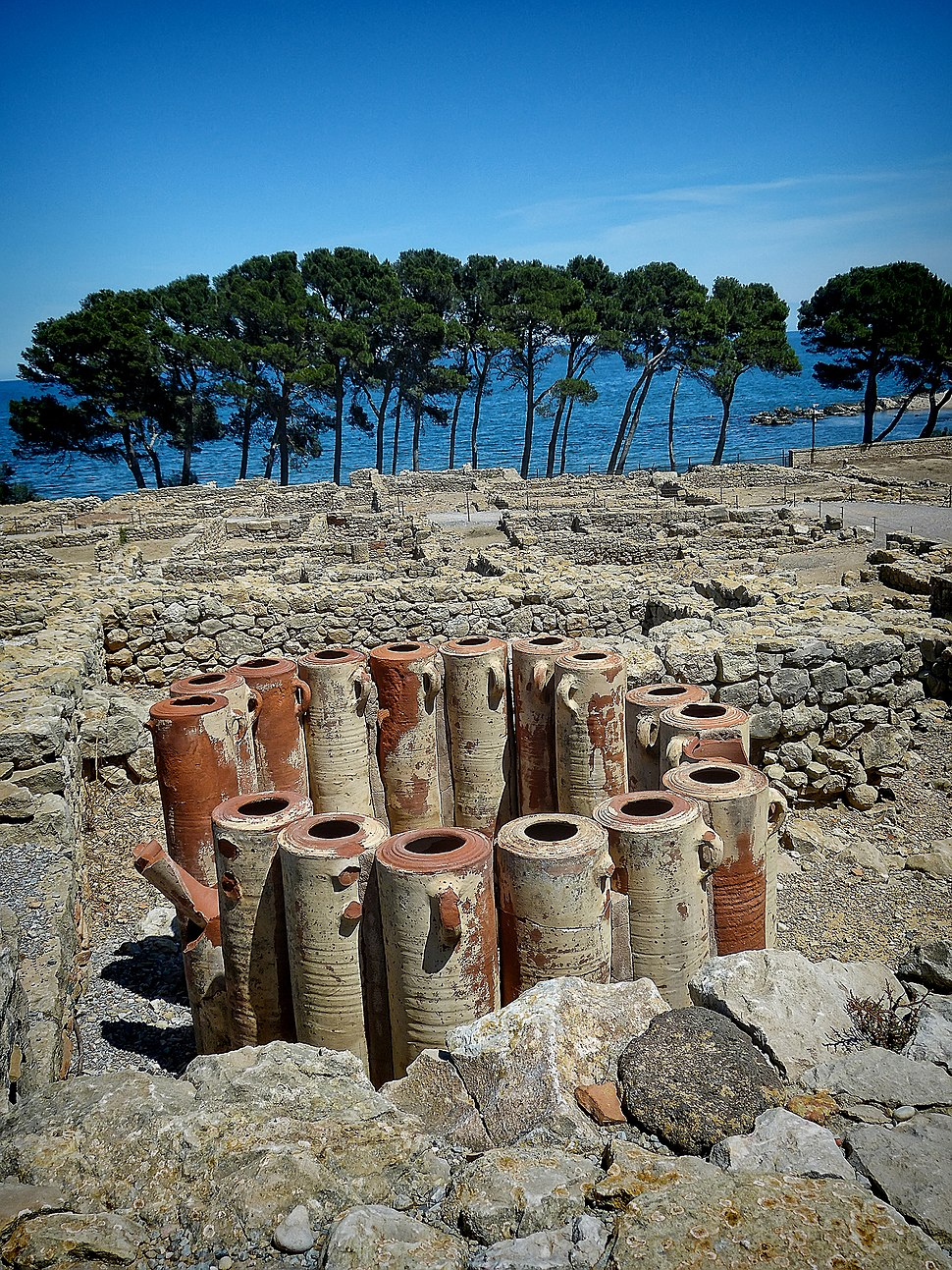 Ancient Water filtration pipes in the city of Neapolis in the archaeological site of Empúries