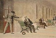 Zeitgenössische Zeichnung des Attentats auf D. Antonio Cánovas von V. Ginés