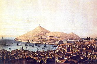Angra do Heroísmo - An engraving of Angra showing the Fort of São João Baptista