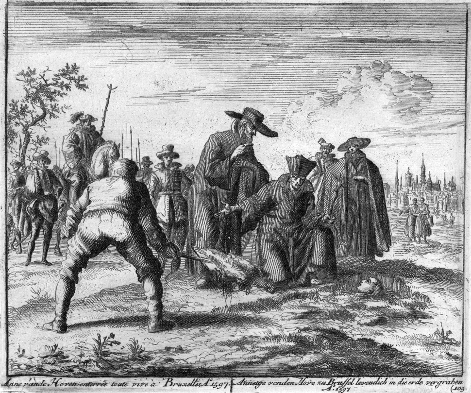 Anneken van den Hove te Brussel levend begraven (Jan Luyken, 1597)