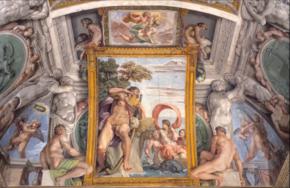 Deckenfresken mit Polyphem und Galatea in der Galleria Farnese (Südwand) (Quelle: Wikimedia)