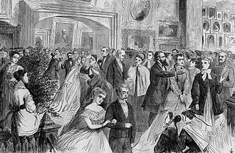 National Academy of Design - Annual Reception at the National Academy of Design, New York, 1868, a wood engraving from a sketch by W. S. L. Jewett