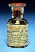 One of the first bottles of diphtheria antitoxin produced (Dated 1895).