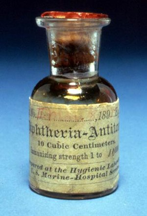 Immunity (medical) - One of the first bottles of diphtheria antitoxin produced (Dated 1895).