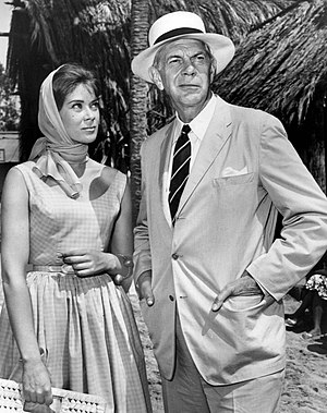 Antoinette Bower - Bower and Raymond Massey as guest stars on Adventures in Paradise, 1961