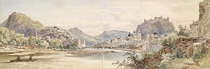 Anton Altmann - Watercolour panorama of Salzburg, painted in 1855