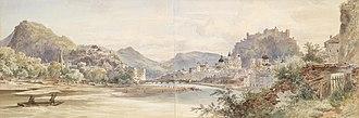 Anton Altmann - Watercolour panorama of Salzburg, painted in 1855