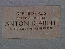 Gedenktafel für Anton Diabelli an seinem Geburtshaus in Mattsee (Quelle: Wikimedia)
