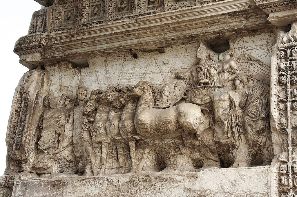 Titus triumph, a Roman bas-relief at the Arch of Titus