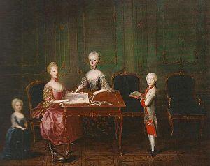 Archduchess Maria Theresa of Austria (1762–1770) - Left to right, Archduchess Maria Theresa, with Archduchess Maria Carolina, Archduchess Marie Antoinette and Archduke Maximilian, 1763.