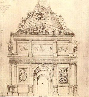 Arch of Malborghetto - Sketched reconstruction of the Arch of Malborghetto by Sangallo