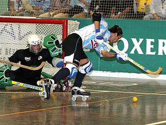 Roller hockey (quad) - Argentine player during the 2007 Rink Hockey World Championship.