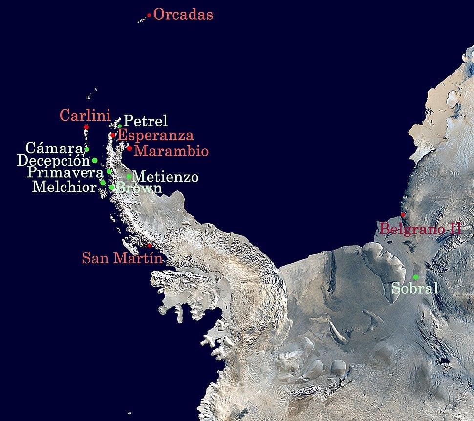 Argentine Antarctica bases map