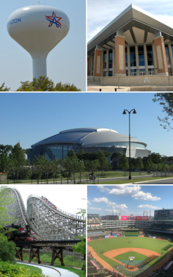 From top, left to right: Arlington water tower, University of Texas at Arlington, AT&T Stadium, The Old Texas Giant at Six Flags Over Texas, Globe Life Park in Arlington