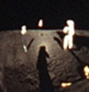 Opposition surge - Heiligenschein brightens the area around Buzz Aldrin's shadow due to the opposition effect on the retroreflective lunar soil.