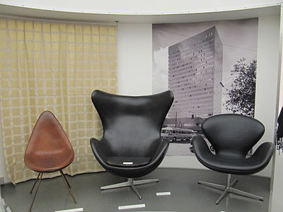 Drop, Egg and Swan chairs designed by Jacobsen for use in the SAS Royal Hotel (pictured in background). Arne Jacobsen - Drop, Egg and Swan.jpg