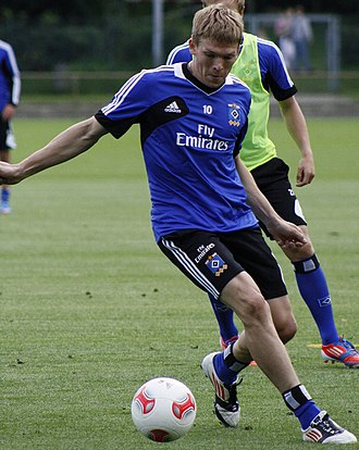 Artjoms Rudņevs - Rudnevs at practice with HSV in 2012.