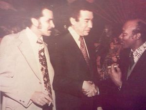 Sandy Amorós - Arturo A. Germain, Herman Badillo and Sandy Amorós at a political convention in New York City 1974