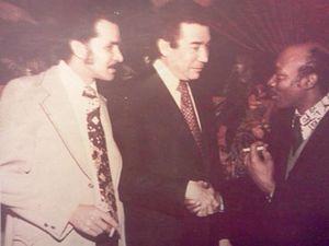 Sandy Amorós - Arturo A. Germain, Herman Badillo and Sandy Amorós at a political convention in New York City 1974