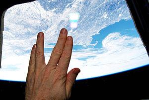 Vulcan salute - Image: Astronaut Salutes Nimoy From Orbit