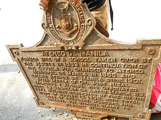 Historical markers of the Philippines - Image: Ateneo de Manila Historical Marker NHCP Storage Manila
