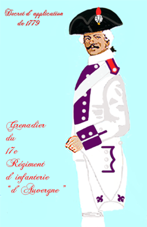 Régiment d'Auvergne - Uniform of a grenadier of the Regiment d'Auvergne in 1779