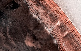 Planum Boreum - False color view of a Martian avalanche.