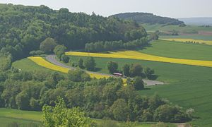 Bundesstraße 26 - Hairpin curve between Karlstadt and Stetten in Werntal