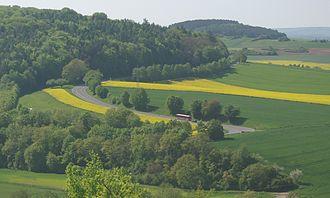 Bundesstraße 26 - Hairpin curve between Karlstadt and Stetten in Werntal