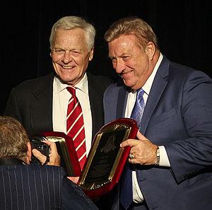 Jim Otis - Otis inducted into the St.Louis Sports Hall of Fame, 2015. Jim Bakken presents his plaque.