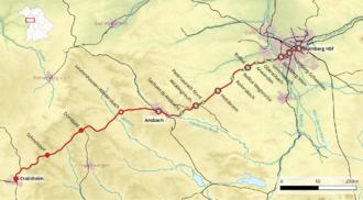 Strecke der Bahnstrecke Nürnberg–Crailsheim