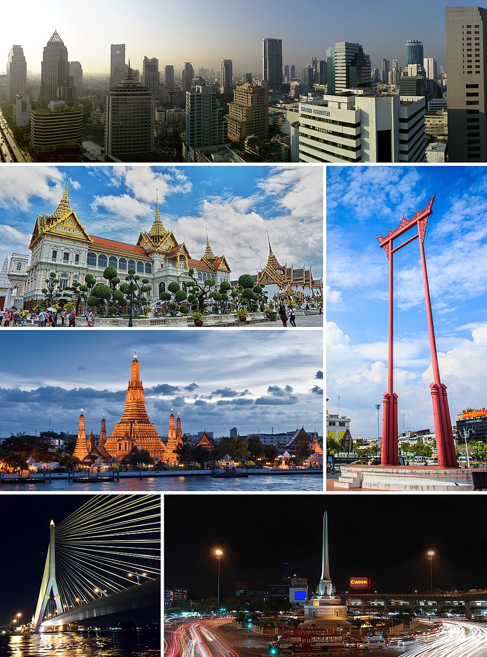 Clockwise from top: Si Lom–Sathon business district, the Giant Swing, Victory Monument, Rama VIII Bridge, Wat Arun, and the Grand Palace