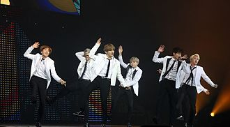 BTS (band) - Bangtan Boys at KCON France 2016 in Paris on June 2, 2016.