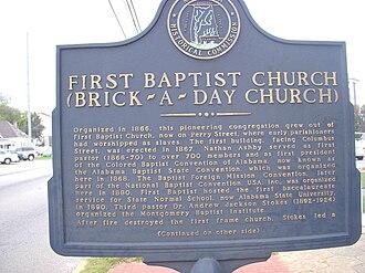 First Baptist Church (Montgomery, Alabama) - Image: Baptist montgomery marker 1