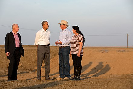 President Barack Obama discussing the drought in California with farmers, 2014 Barack Obama speaks with farmers about California drought, 2014.jpg