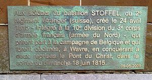 Battle of Wavre - Commemorating plaque to the 1815 battle. Dyle bridge, Wavre.
