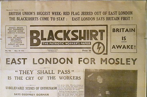Battle of Cable Street as reported in BUF Blackshirt