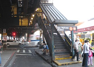Bay Parkway (BMT West End Line) - Image: Bay Pkwy WE BMT stair jeh
