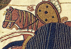 Detail of the Bayeux Tapestry showing fillings in laid work.