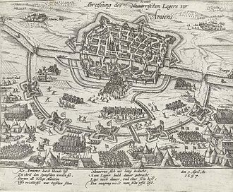 Thomas Dudley - Print of the Siege of Amiens in which Thomas Dudley fought in 1597