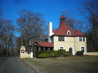 Belle Terre, New York - The Belle Terre Gatehouse, a beaux arts structure dating to the first decade of the 1900s