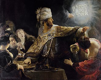 "Belshazzar's feast - Rembrandt, Belshazzar's Feast, 1635, (National Gallery, London). The message is written in vertical lines starting at the top right corner, with ""upharsin"" taking two lines."