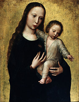 Benson, Ambrosius - The Virgin Mary with the Child Jesus in a Shirt - Google Art Project