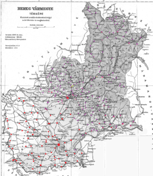 Bereg County - Ethnic map of the county with data of the 1910 census (see the key in the description).