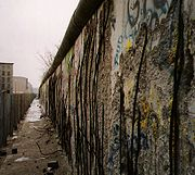 Almost all of the remaining sections of Berlin Wall were rapidly chipped away. Photo December 1990.