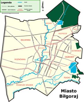 Plan głównych ulic miasta wraz z nazwami i granicami osiedli