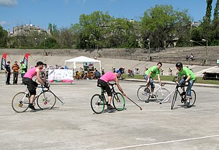 Cycle polo Team sport originating in Ireland; related to polo but played on bicycles