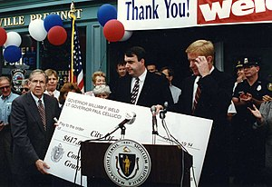 Bill Weld - Governor Weld presenting a grant to the City of Lowell in 1994